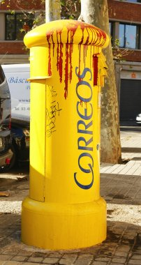 Postbox scrawled by vandals