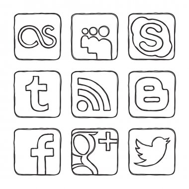 Set vector icons of social networks