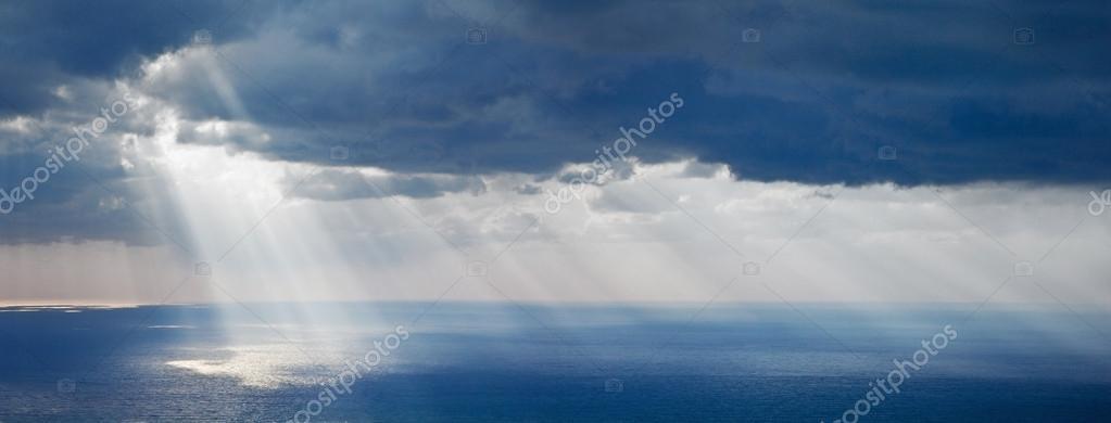 Bright sunlight over ocean