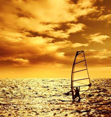 Silhouette windsurfer over sunset