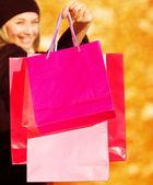 Fotografie fröhliche Frau auf Shop Verkauf