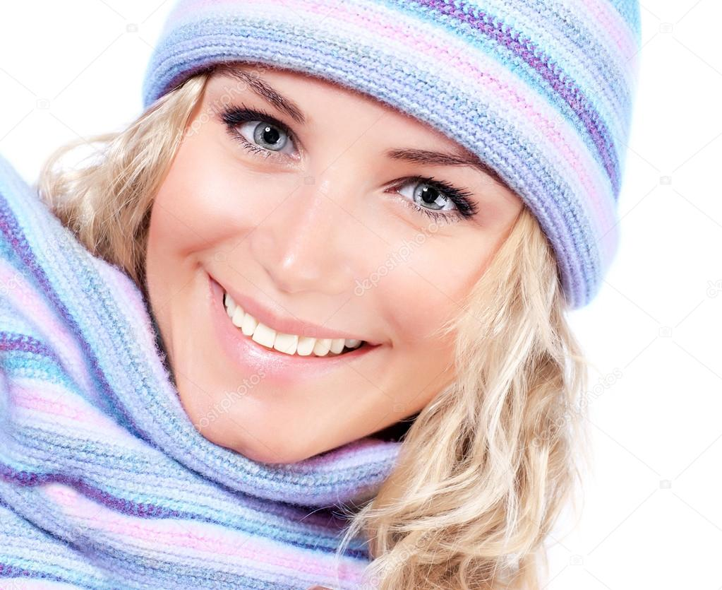Happy girl in winter hat
