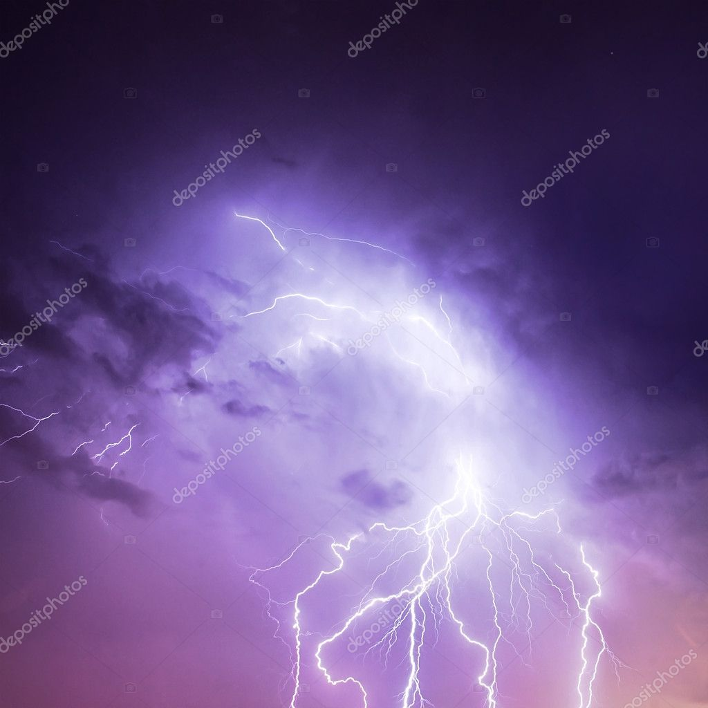 Lightning in purple sky
