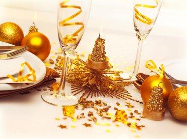 Christmas romantic table setting