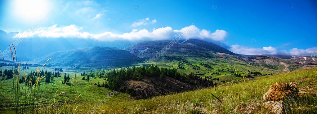 Photo of beautiful mountain landscape, natural background, blue sky with bright sun light, fresh air, green pasture valley in Lebanon mountains, scenic place, traveling and active vacation concept stock vector