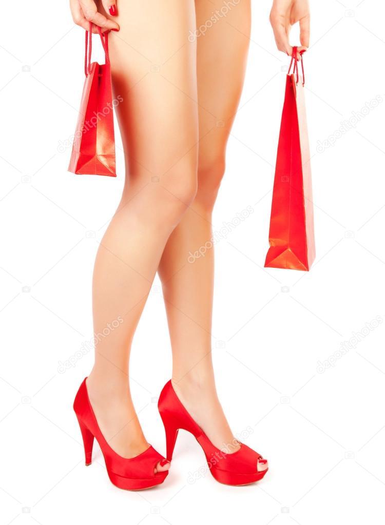 scarpe shopping donna rosse borsa in con pEqgwZnq