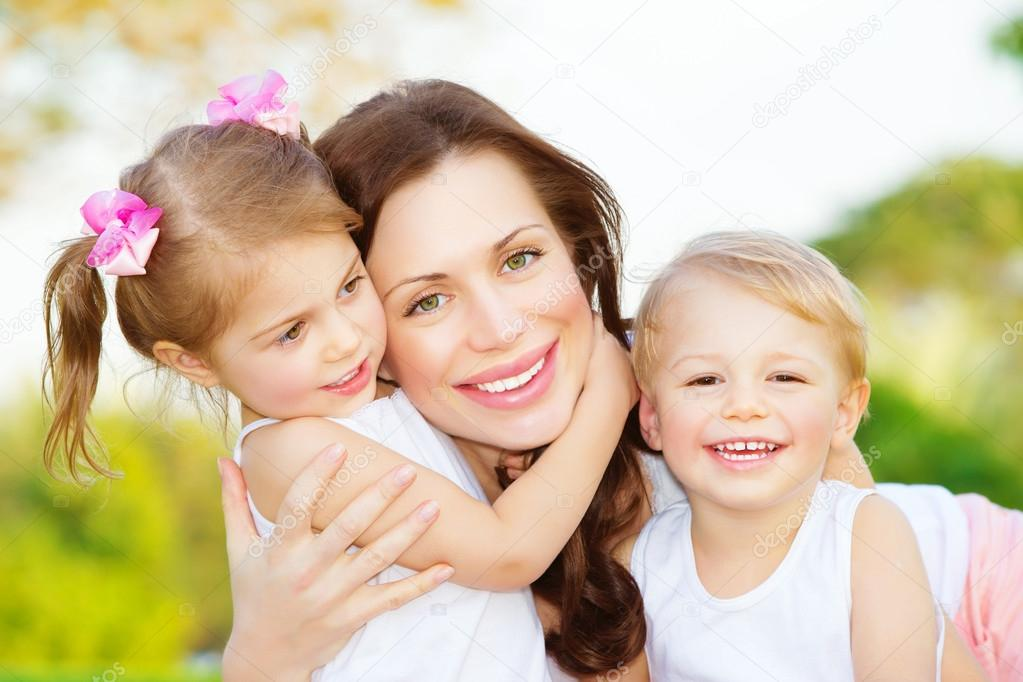 Mother with two kids