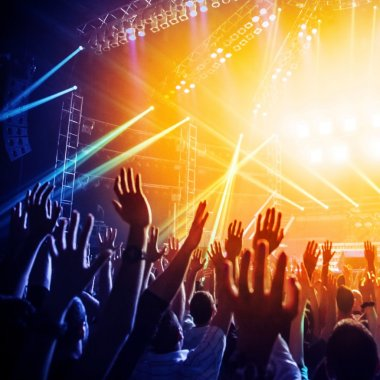 People enjoying rock concert , crowd with raised up hands dancing in nightclub, audience applauding to musician band stock vector