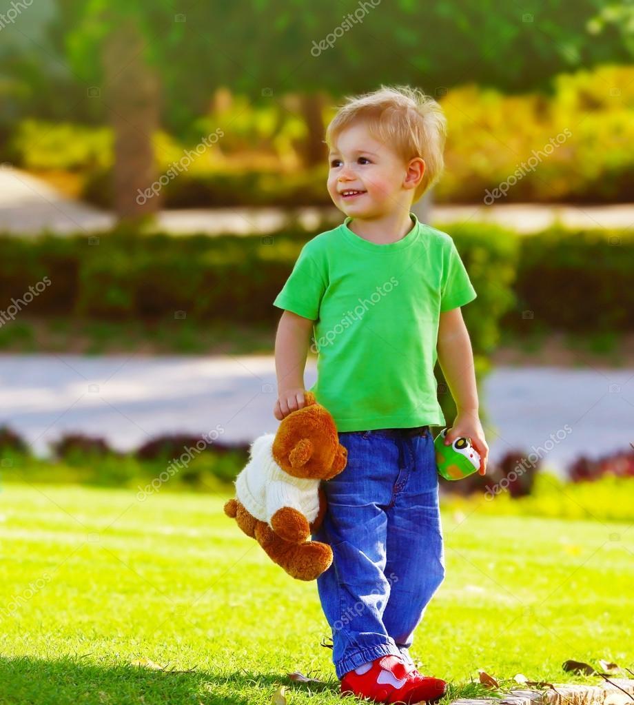 Little boy in spring park