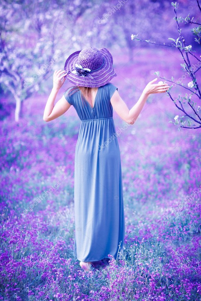 Woman in fantasy garden
