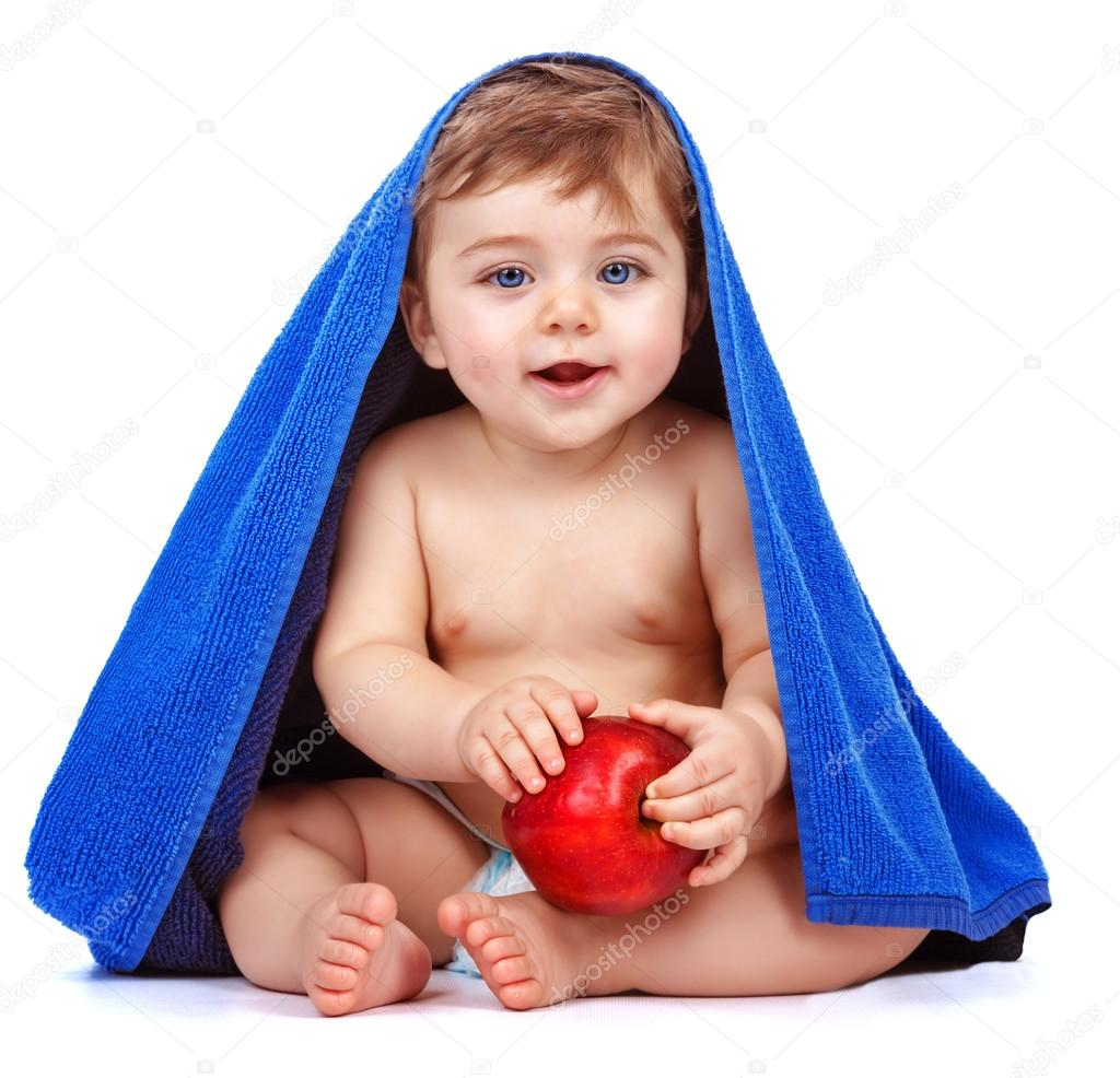 cute baby boy eating apple — stock photo © anna_om #29945081