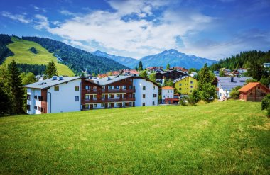 Village in the mountains, Europe, Austria, Seefeld, Alps, luxury ski resort, beautiful cottages, picturesque landscape, travel and tourism concept stock vector
