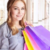 šťastná žena, nakupování
