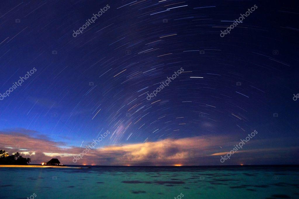 Starry night on tropical resort
