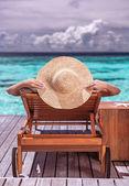 Fotografie Frau über Luxus Beach resort