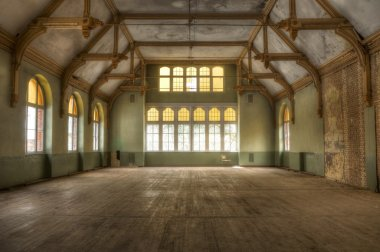 Old building in an abandoned hospital in Beelitz
