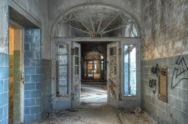 Old corridor in an abandoned hospital