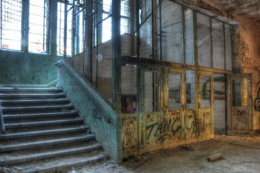 Old elevator in an abandoned hospital