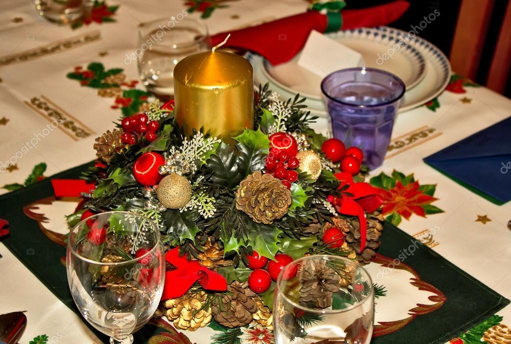 Table prepared for Christmas dinner — Stock Photo © James633 #18385617