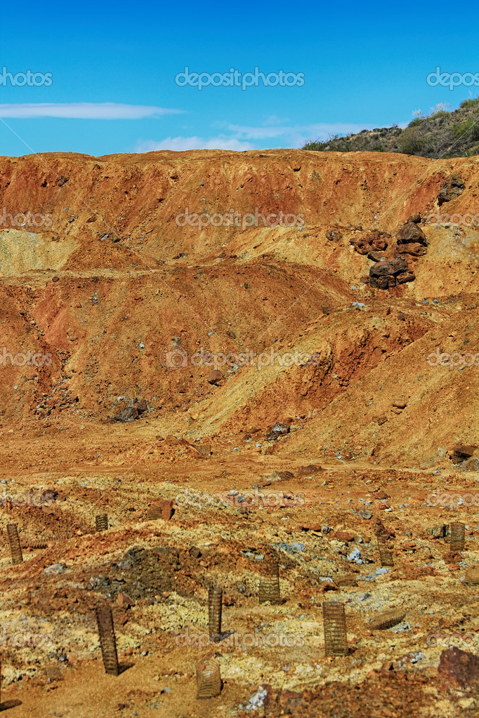 soil with a high content in reddish iron by the rust, desert ari