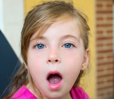 Blond girl with surprised gesture face portrait