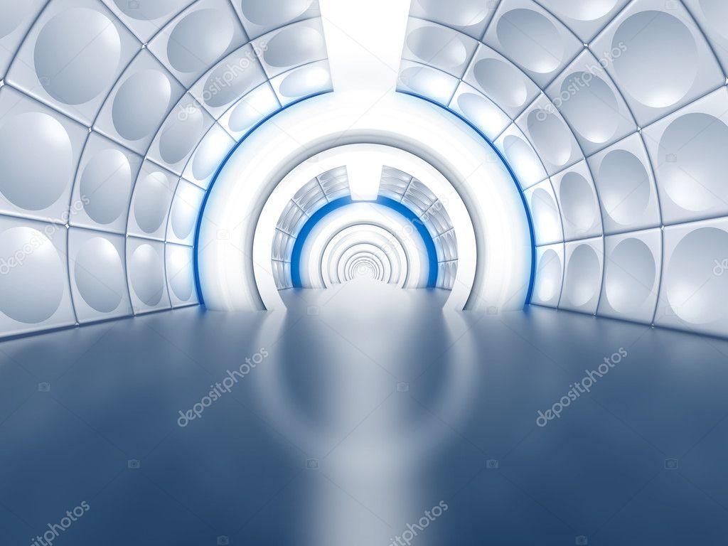 Futuristic tunnel like spaceship corridor