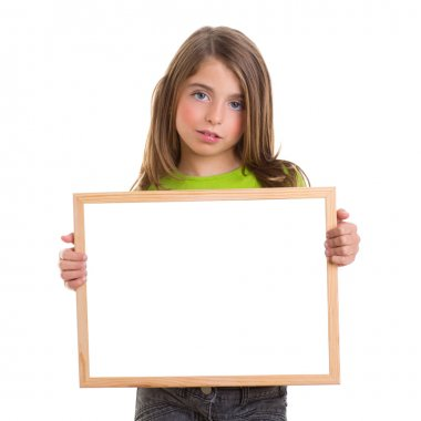 child girl with white frame copy space white blackboard