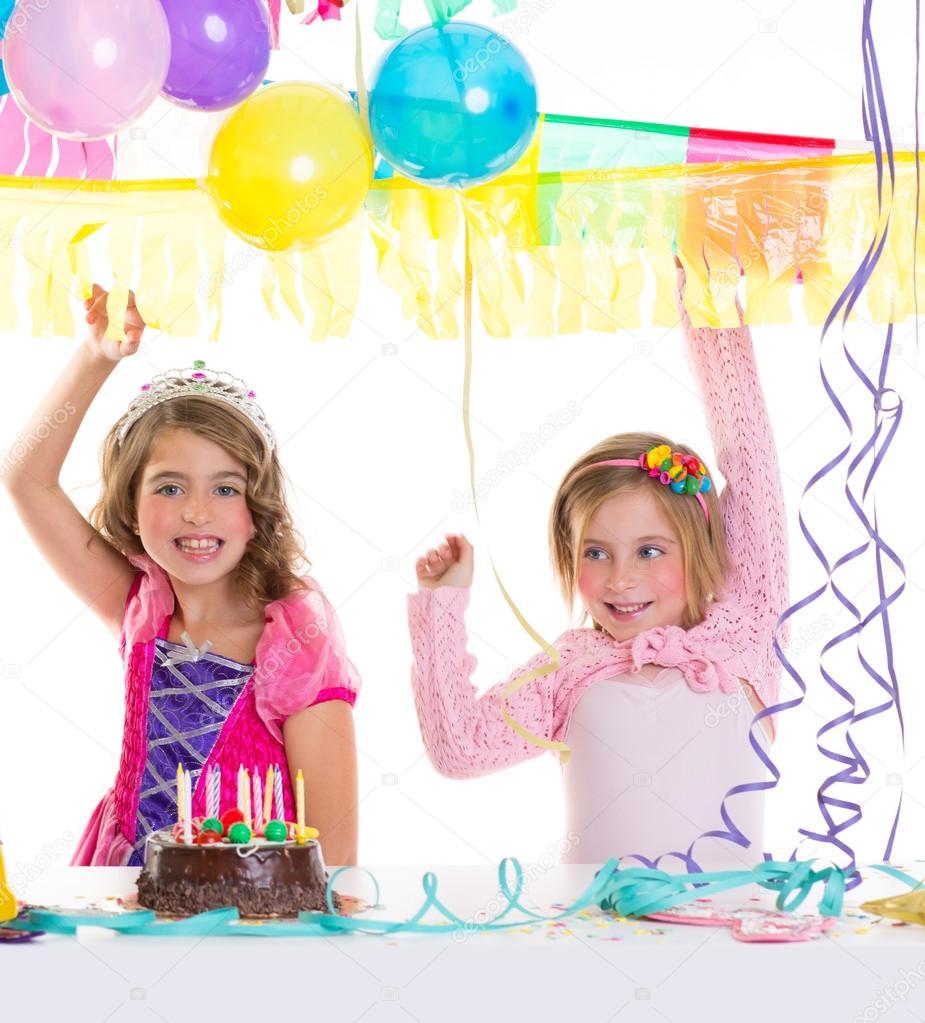 Kinderen Gelukkige Verjaardag Partij Meisjes Met Ballonnen