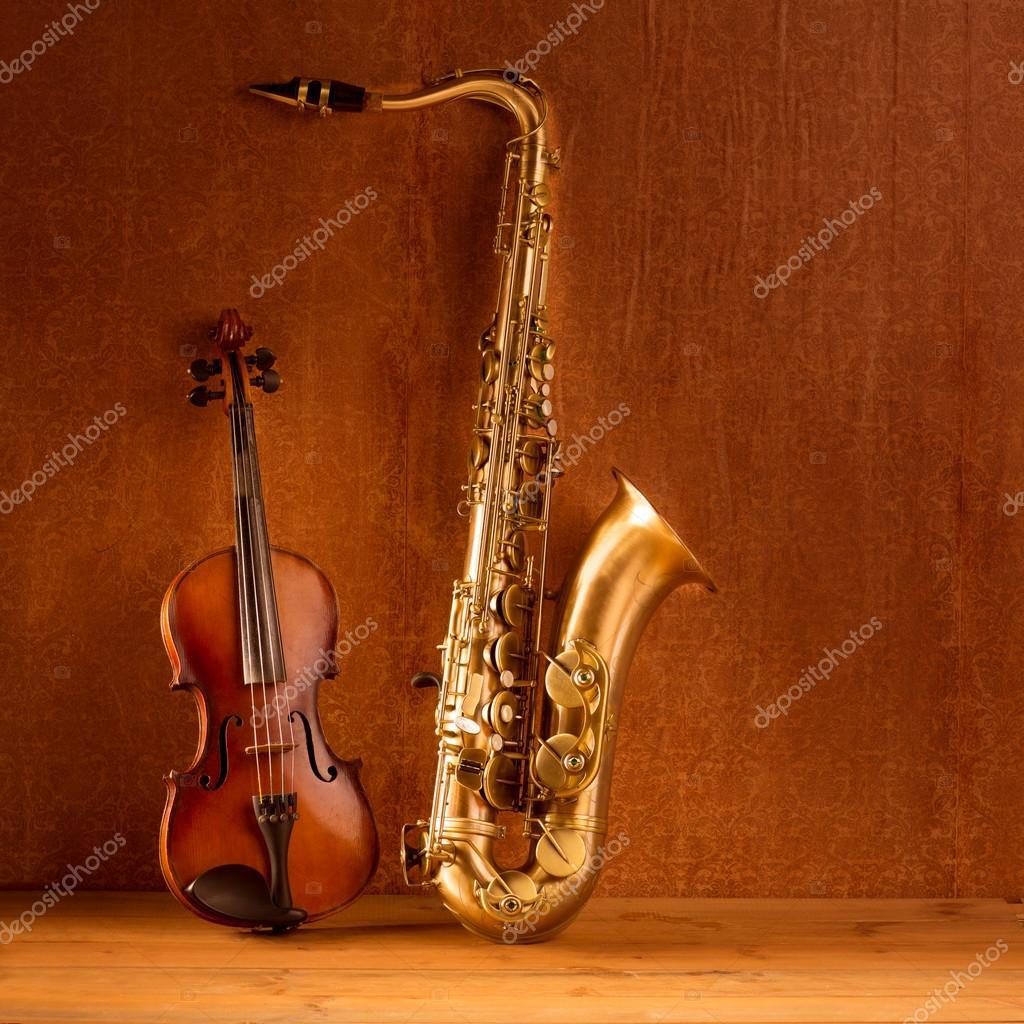 Classic music Sax tenor saxophone violin in vintage