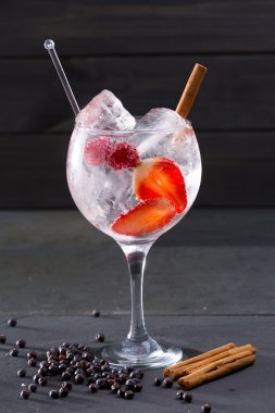 Gin tonic cocktail with strawberries cinnamon and juniper