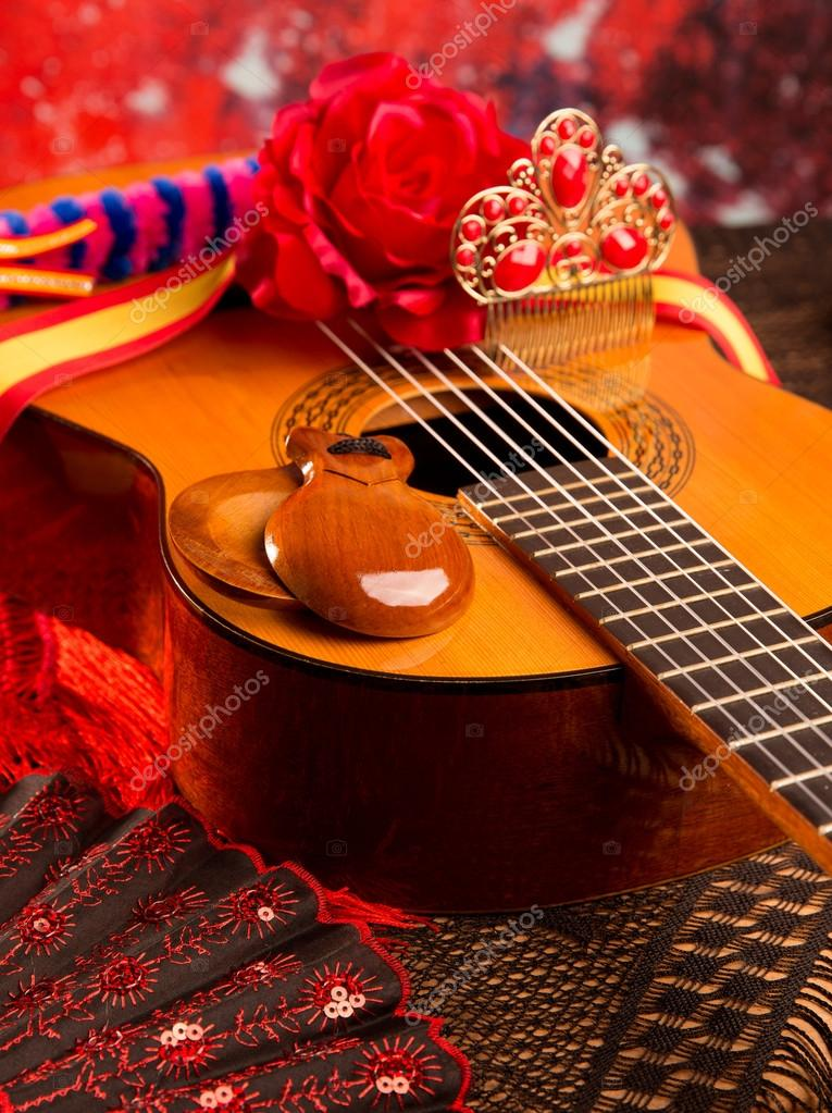 Cassic guitare espagnole avec des éléments de flamenco ...