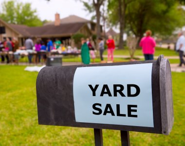 Yard sale in an american weekend on the lawn