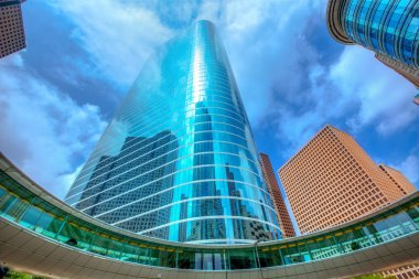 Houston downtown skyscrapers disctict blue sky mirror