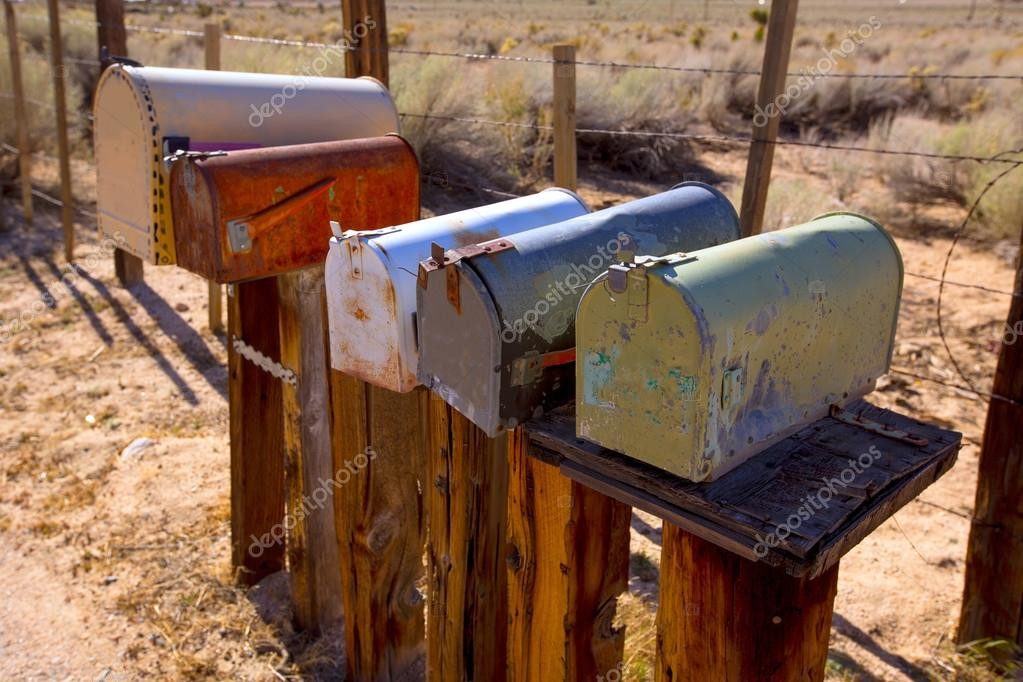 Mailboxes aged vintage in west California desert