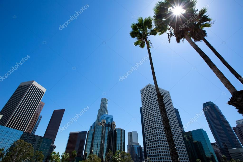 Downtown LA Los Angeles skyline California from 110 fwy