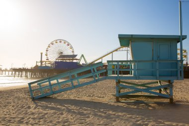Santa Monica beach lifeguard tower in California