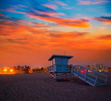 Santa Monica California sunset lifeguard tower