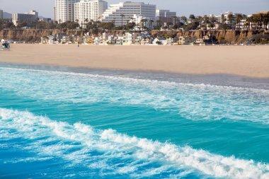 Santa Monica beach view from pier in California