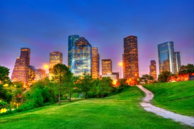 Houston Texas modern skyline at sunset twilight on park