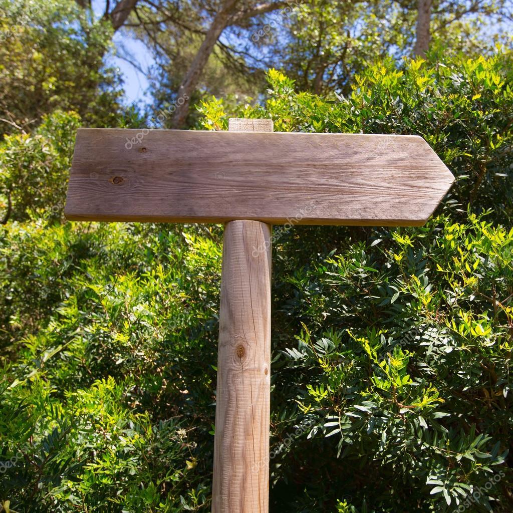 Wooden track road sign in Mediterranean