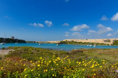 Menorca La Mola in Mahon with sailboats anchored
