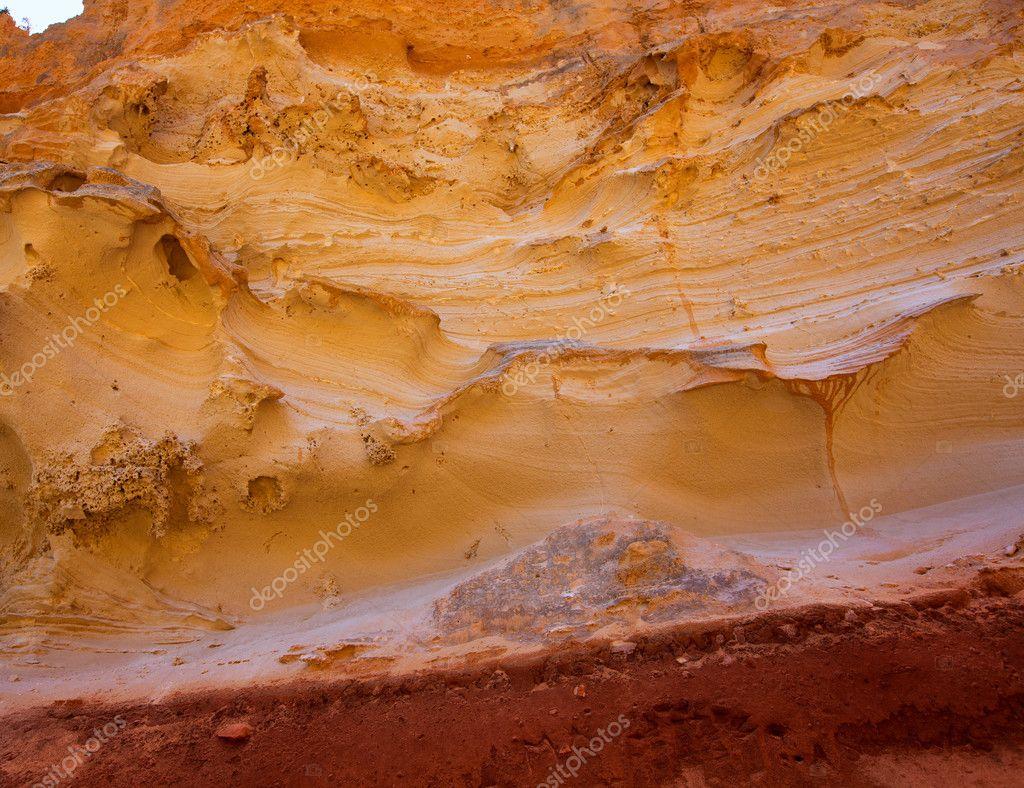 Formentera Cala en Baster sandstone textures — Stock Photo