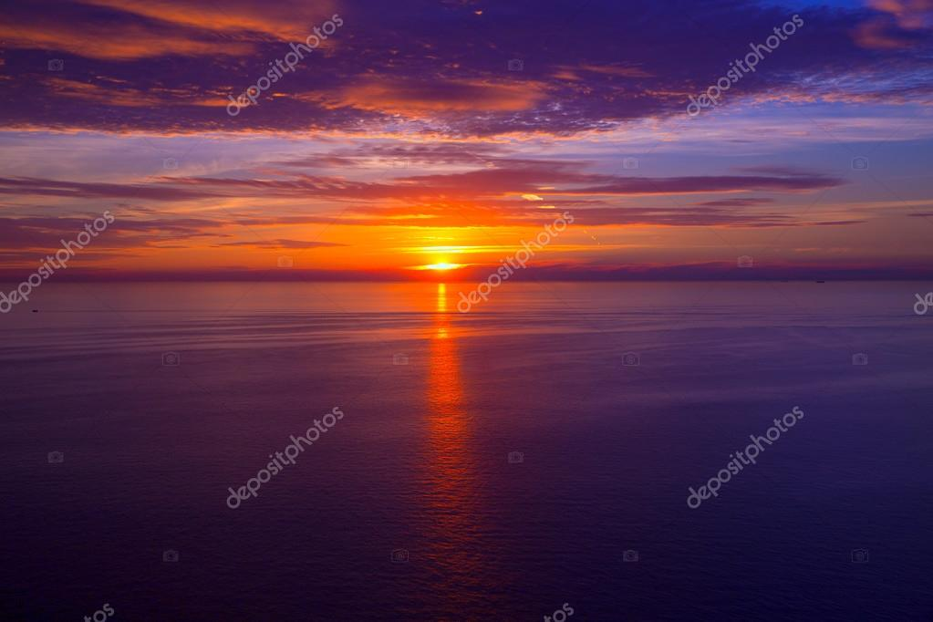 sunset sunrise over Mediterranean sea
