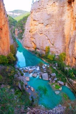 Mijares river and mountains in Montanejos Castellon