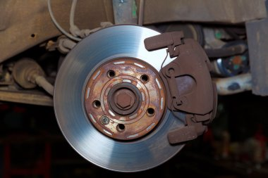 Car wheel brake rusty disc with pads rotor disc and caliper