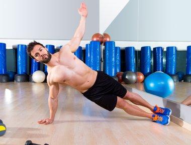 Fitness side push ups man pushup at gym