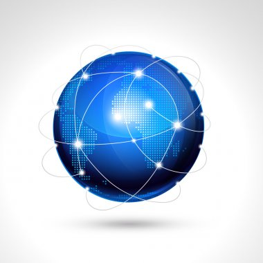World globe, network icon.