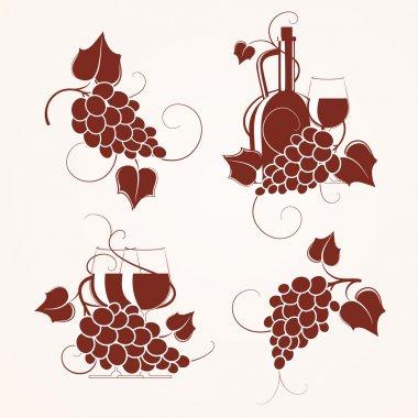 Set of grape design element