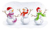 Fotografie legrační sněhuláci. vektorové ilustrace