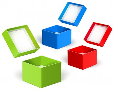 Open color boxes. Vector